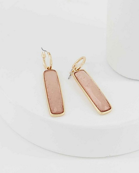 Linear Bar Resin Drop Earrings -  lightpink