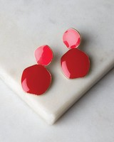 Unique Disk Epoxy Earrings -  gold-red