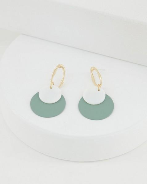 Shell & Epoxy Drop Earrings -  sage