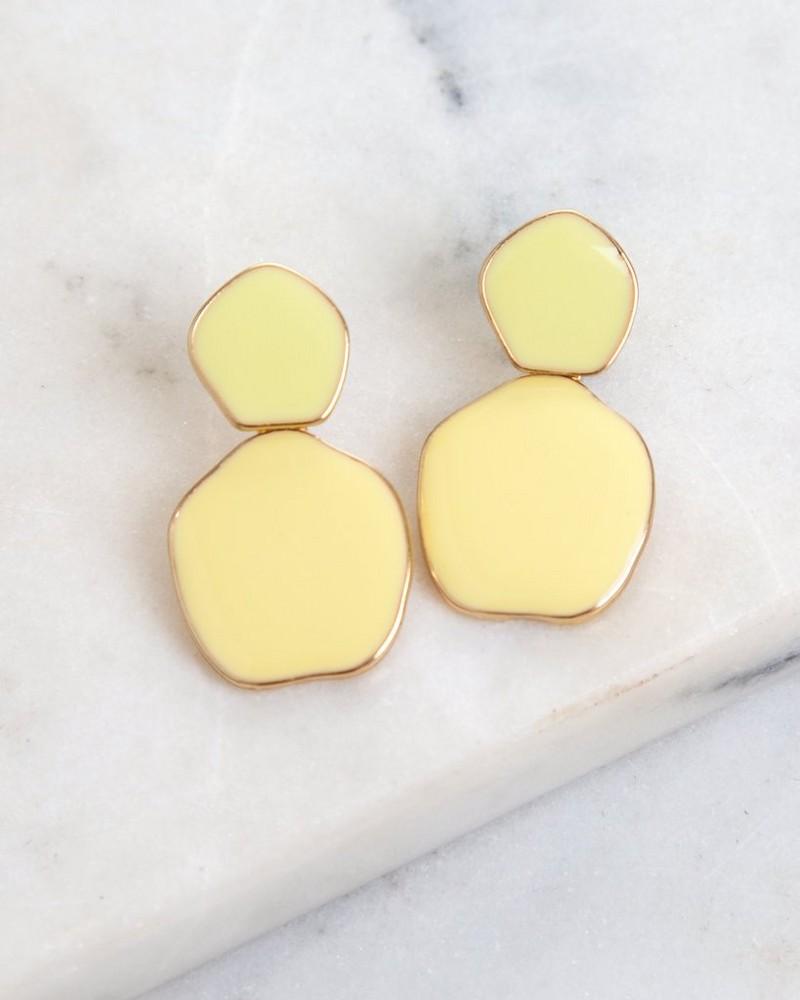 Unique Disk Epoxy Earrings -  yellow