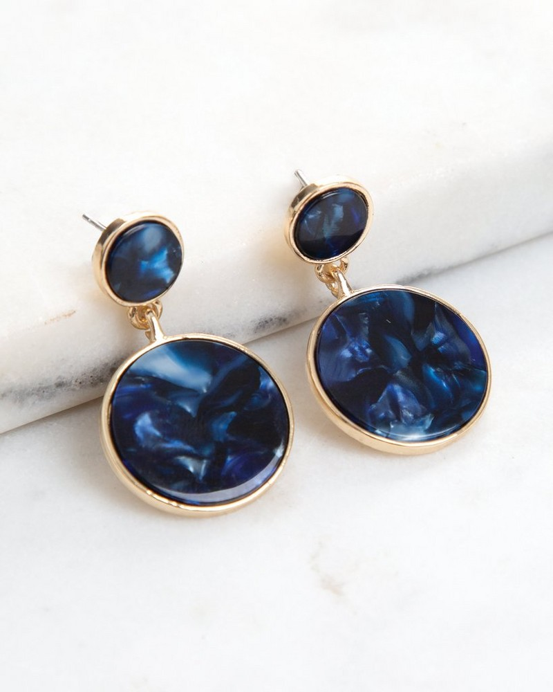 Double Circle Resin Drop Earrings  -  navy-gold