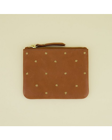 Moira Embroidered Leather Pouch -  tan-gold