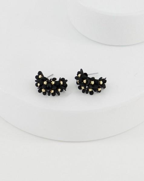 Clustered Floral Epoxy Hoop Earrings -  black