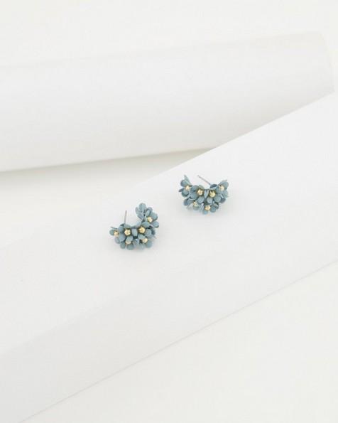 Clustered Floral Epoxy Hoop Earrings -  midblue