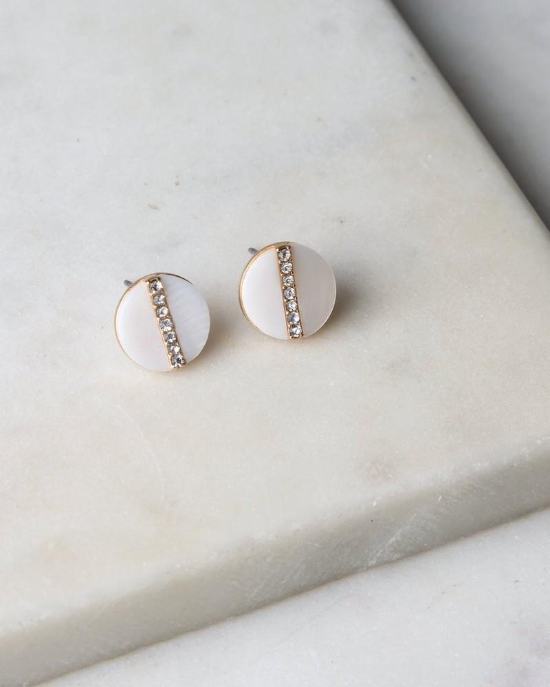 Shell & Crystal Stud Earrings -  milk-gold