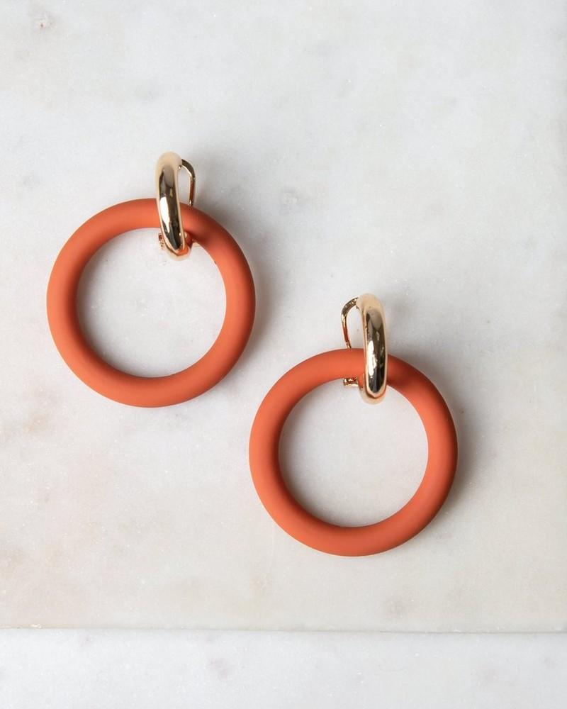 Epoxy Ring Drop Earrings -  rust-gold