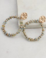 Chunky Stone Clustered Drop Earrings -  mint-gold