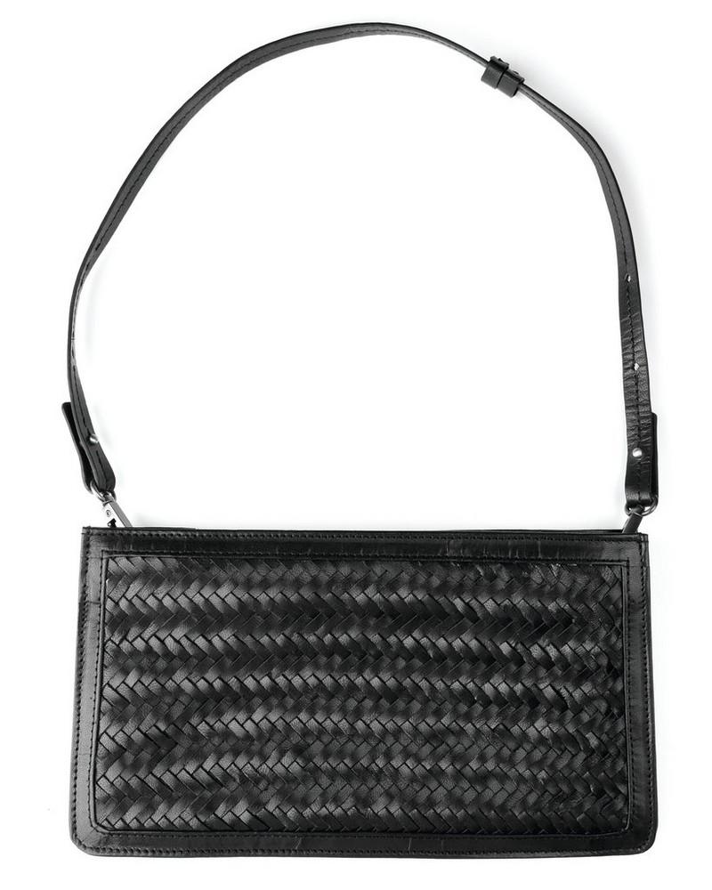 Shelly Plaited Leather Evening Bag -  black