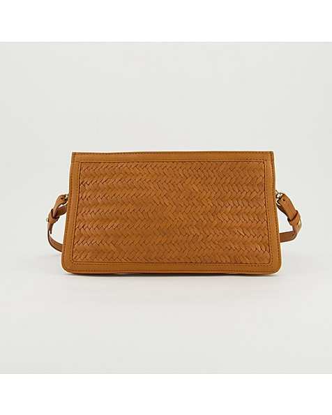 Shelly Plaited Leather Evening Bag -  tan