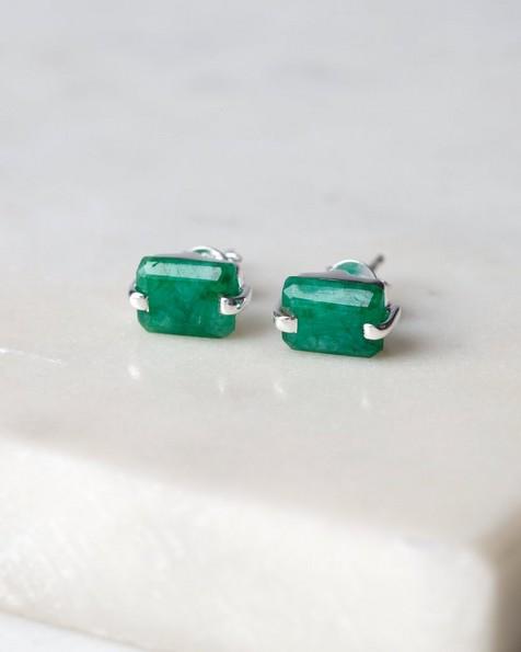 Rectangular Emerald Silver Stud Earrings -  emerald-silver