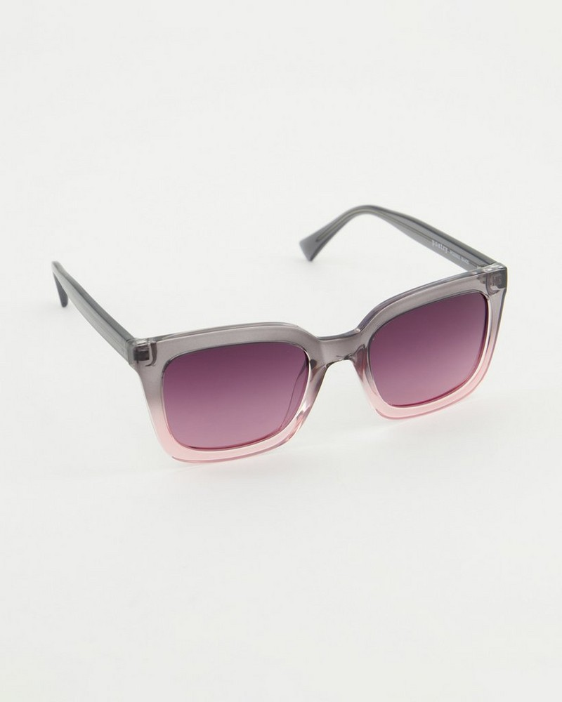 Polarised Heavy Modern Classic Sunglasses -  grey-lightpink