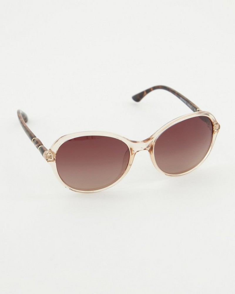 Polarised Rounded Tort Sunglasses -  brown
