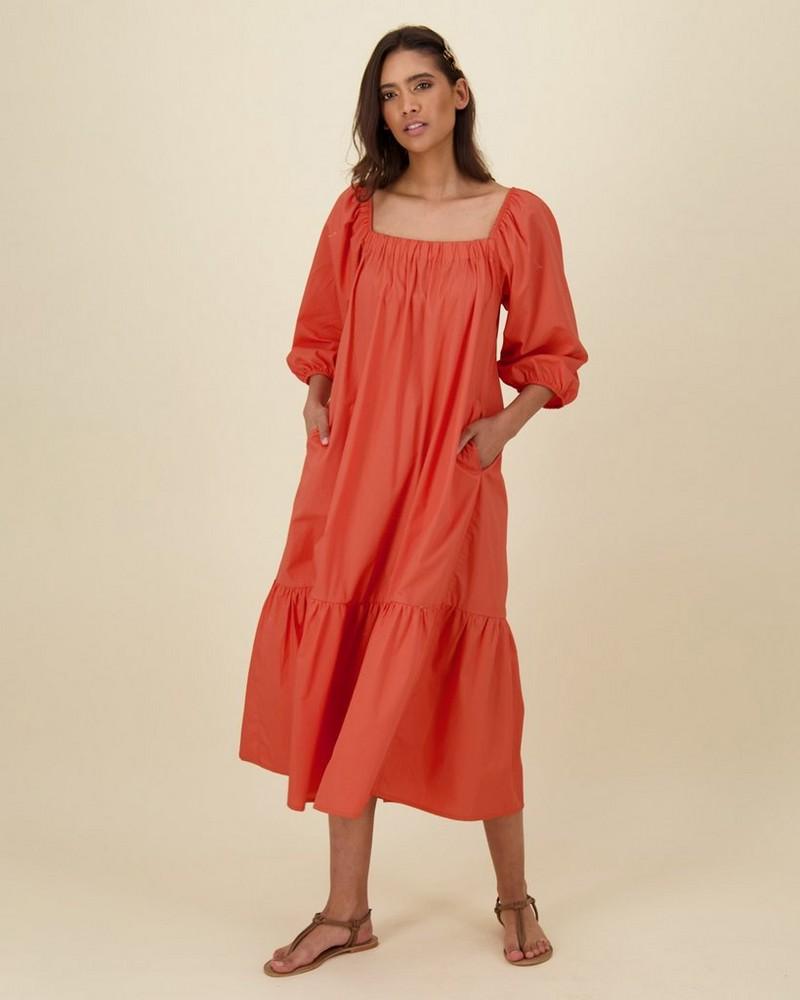 Maya Poplin Maxi Dress -  rust