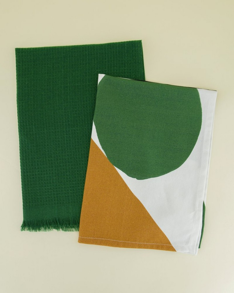 2-Pack Green & Abstract Waffle Tea Towels -  assorted