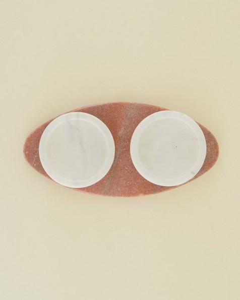 Black & Pink Marble Tapas Bowl Set -  pink-white
