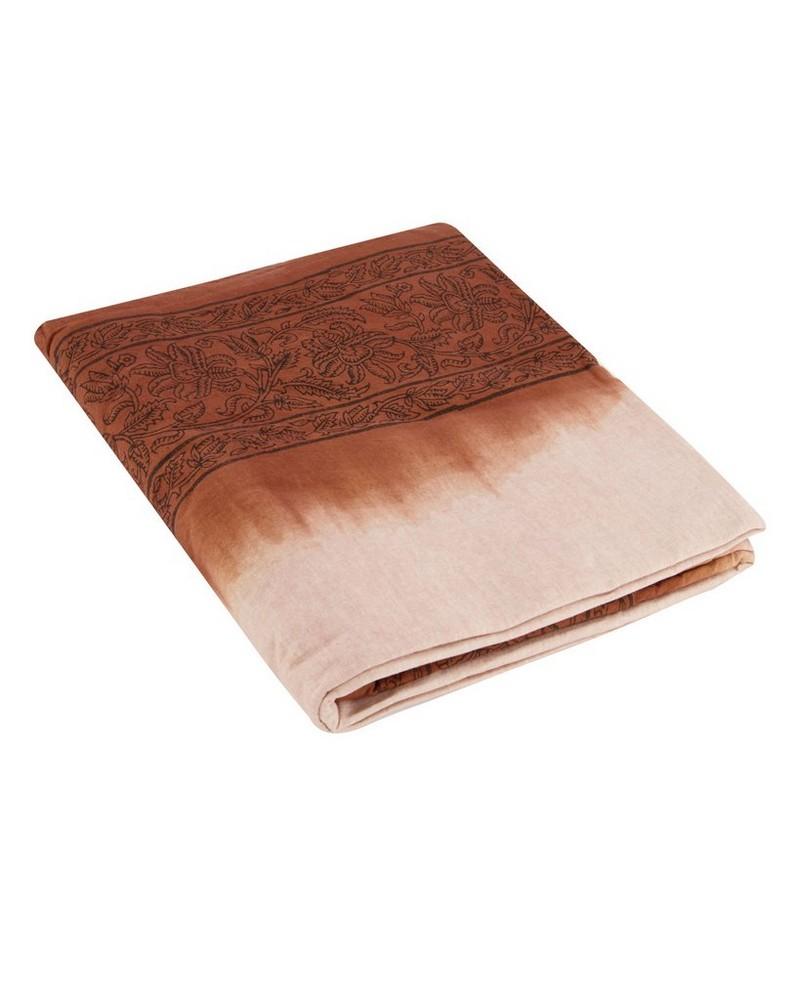 Rust Tie Dye Border Tablecloth -  rust-black