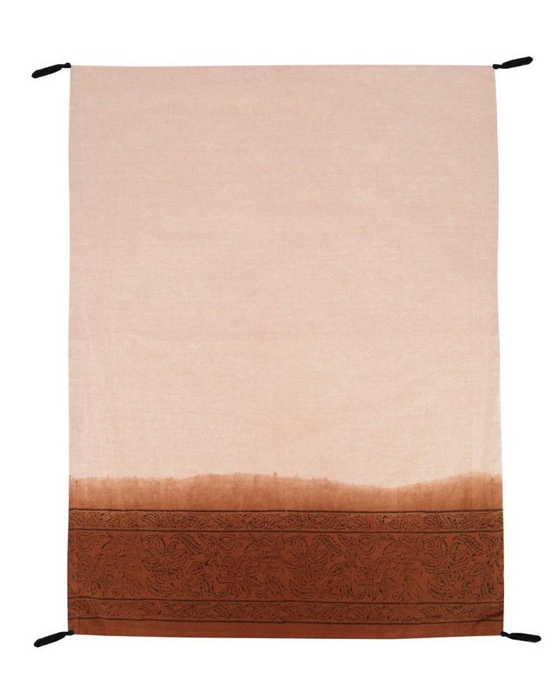 Rust Tie Dye Border Tea Towel with Tassels -  rust-black