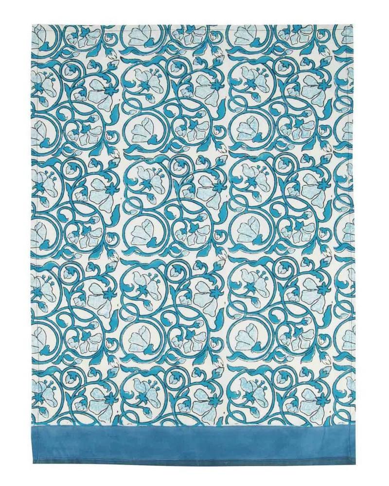 Blue Floral Tea Towel -  blue-white