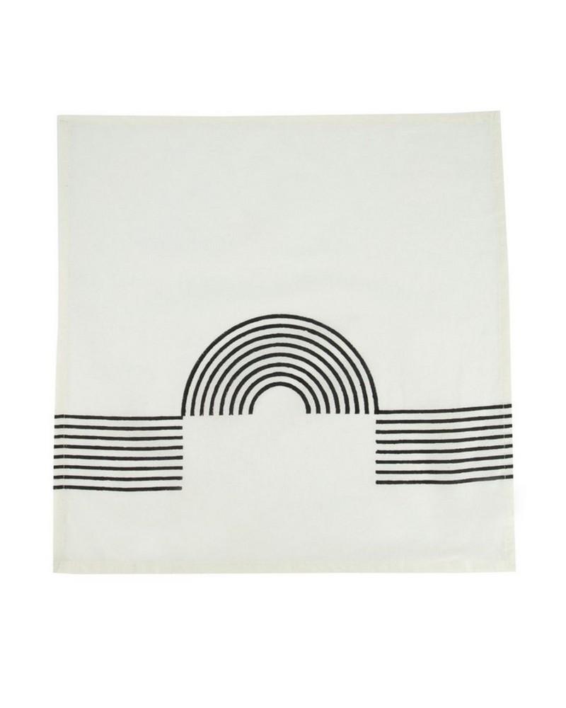 Malakos Graphic Napkin Set -  white-black