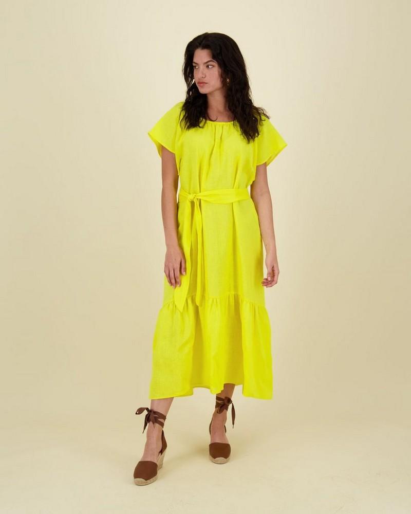 Janie Hem Tiered Dress -  yellow