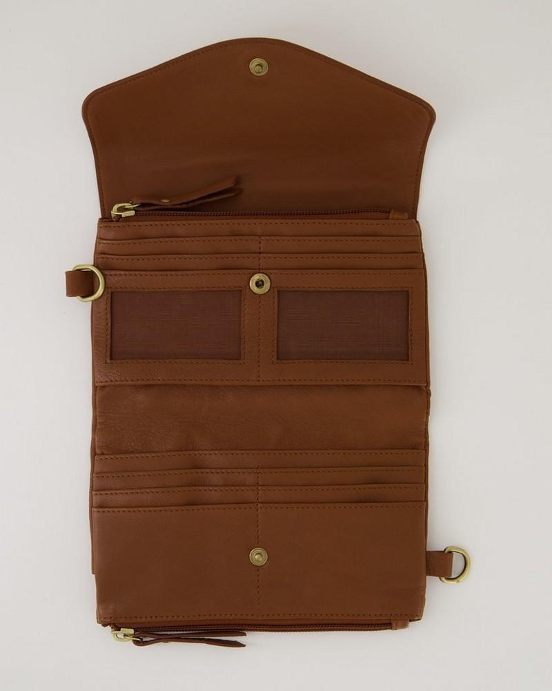 Billie Multi-Functional Mini Cross Body Leather Bag -  tan-tan