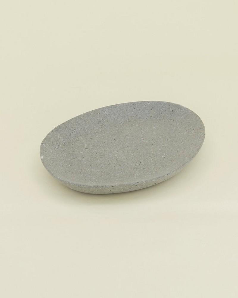 Lava Stone Small Plate -  white