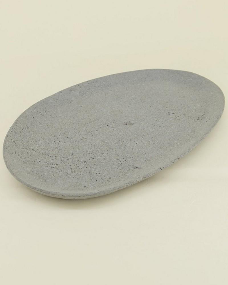 Lava Stone Organic Shape Plate (Large) -  white