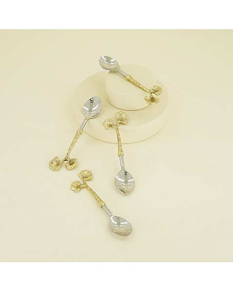 Four-Piece Bloom Teaspoon Set -  gold-silver