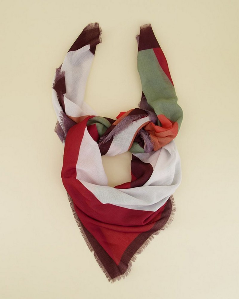 Juno Abstract Scarf -  green-coral