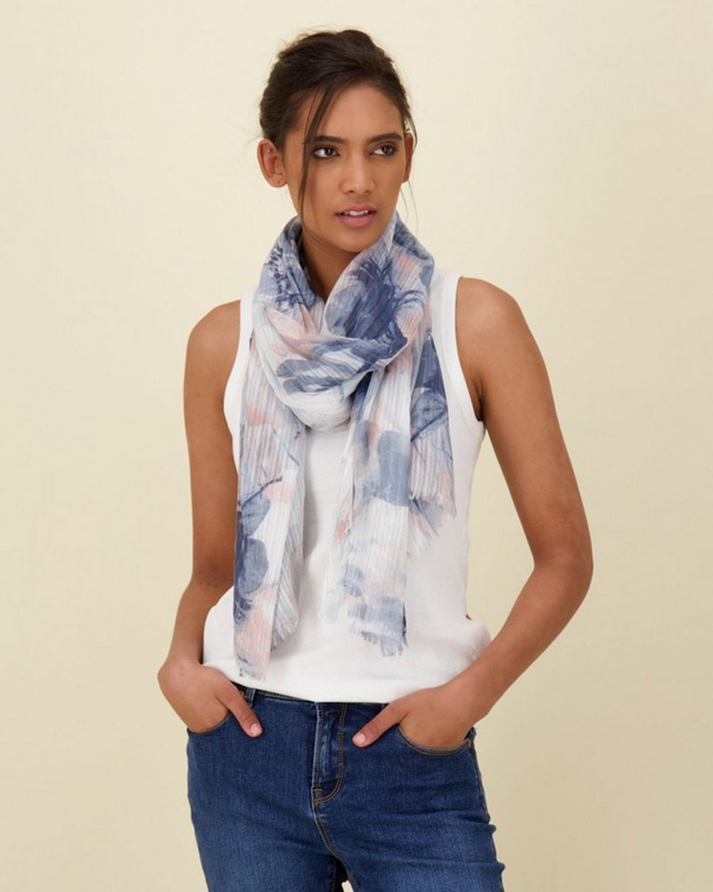 Elizna Watercolour Textured Scarf -  blue-pink