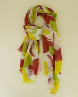Anais Brushstroke Scarf -  olive-rust