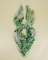 Birgit Floral Silk Scarf -  sage-lightpink