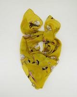 Svea Silk Floral Scarf -  yellow-black