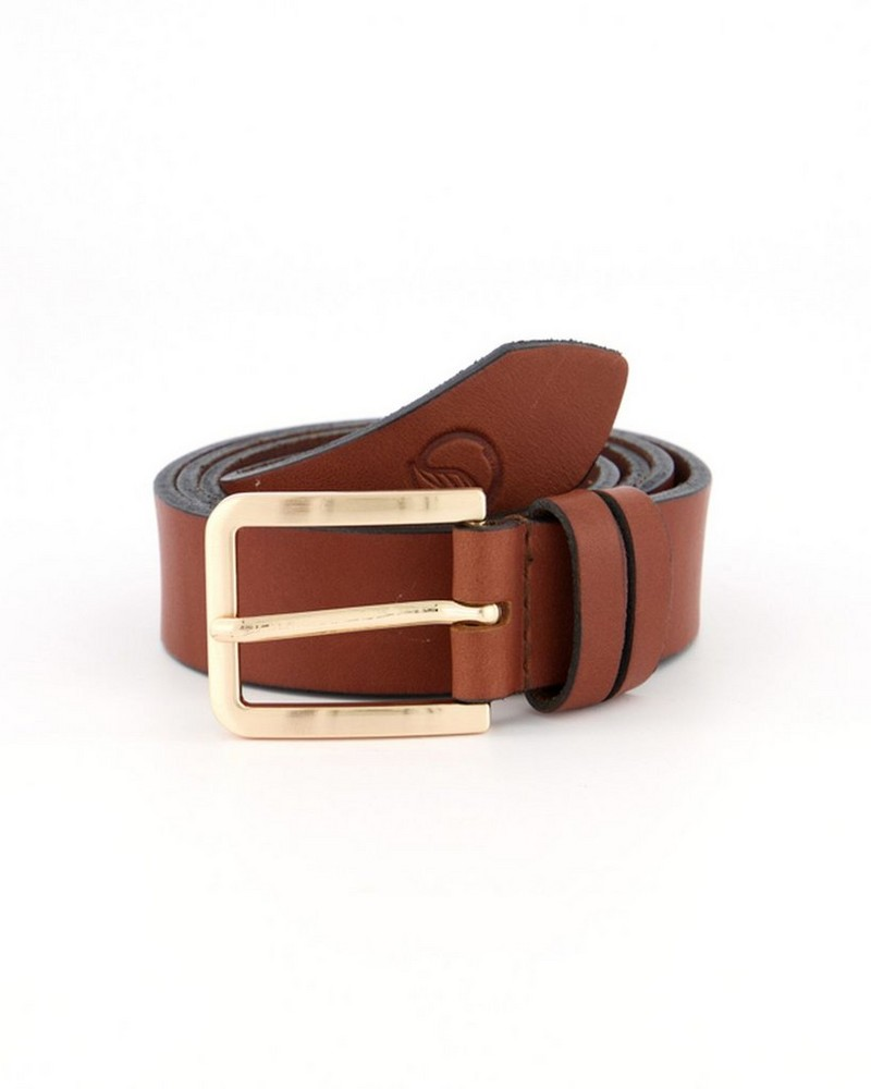 Jewel Feathered Leather Belt -  brown
