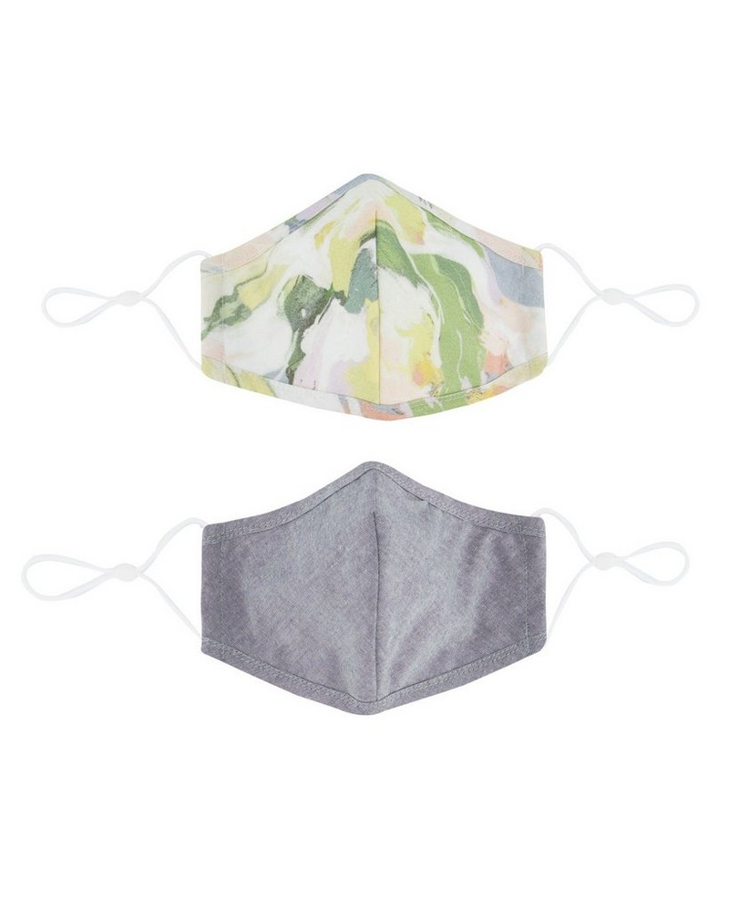 2-Pack Abstract Printed Fabric Face Masks -  milk-pink