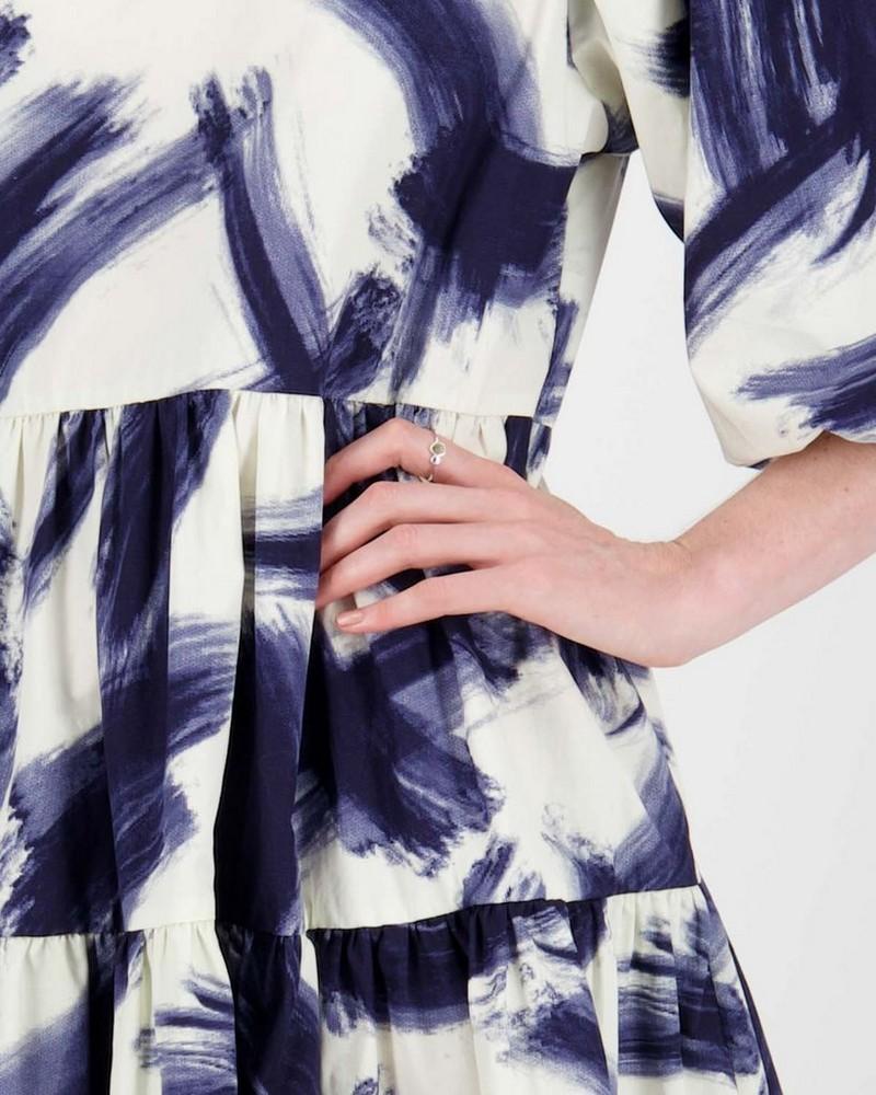 Rey Brushstroke Print Dress -  navy