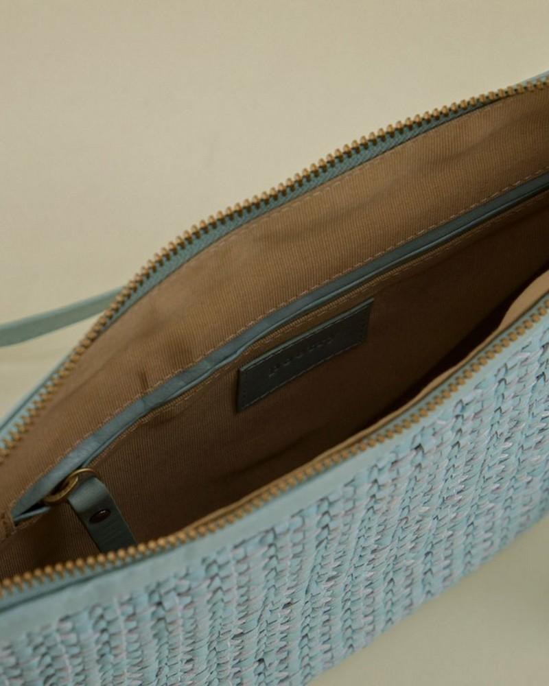 Mina Plaited Leather Cross Body Bag -  sage-green