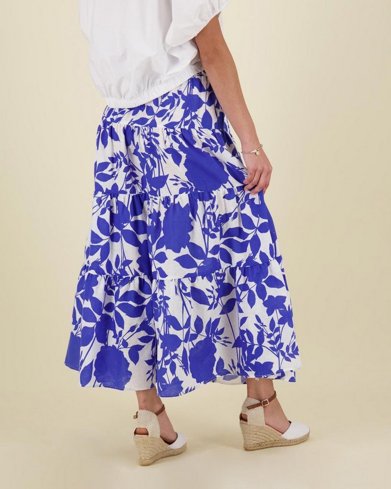Lexi Printed Tiered Skirt -  blue