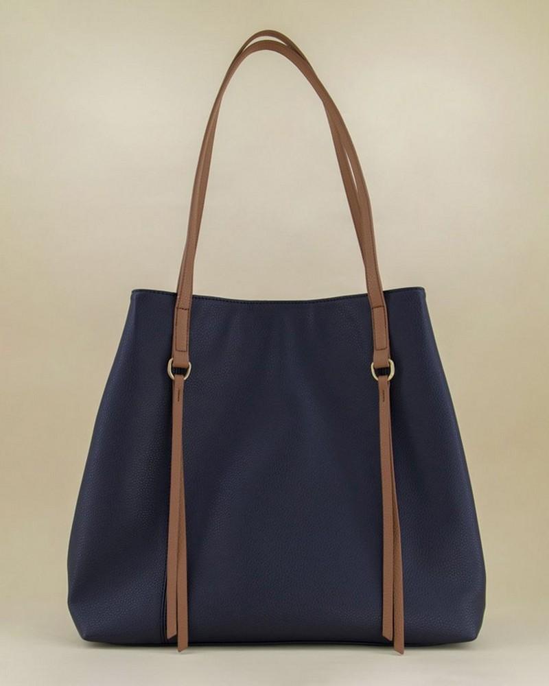 Alva PU Shopper Bag -  navy-tan