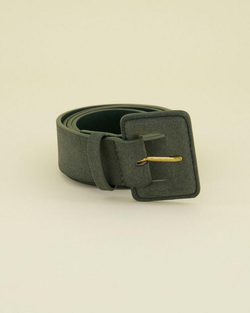 Amberley PU Covered Buckle Belt -  green