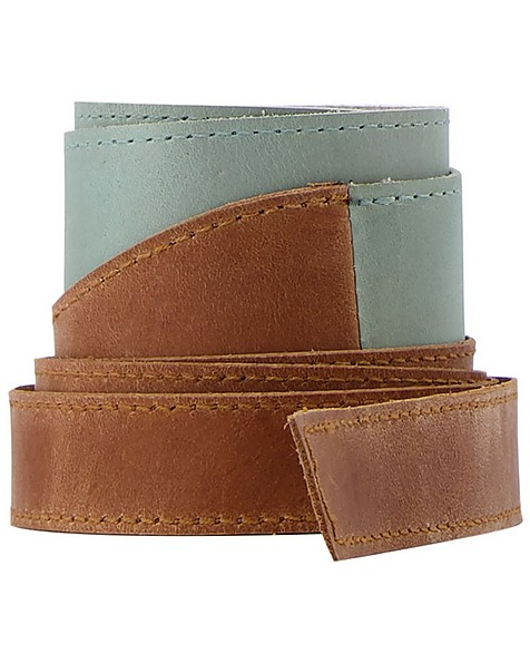 Tammy Colourblock Waist Tie Belt -  sage-tan