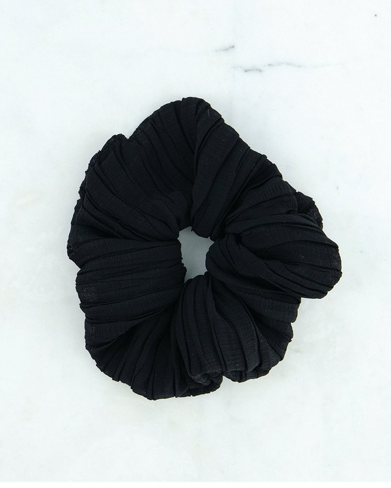 2-Pack Palerma Pleated Scrunchie -  stone-black