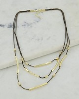Coated Chain & Metal Bar Multichain Necklace -  black-gold