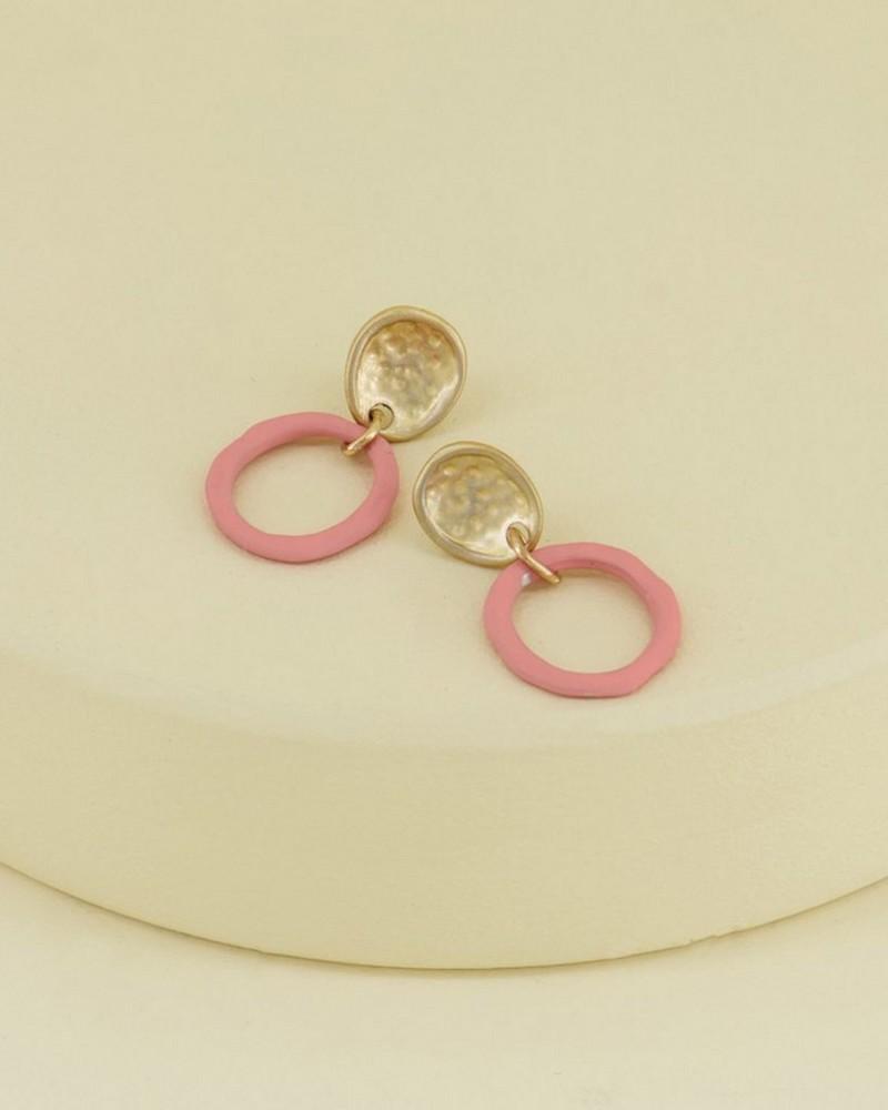 Organic Epoxy Ring Earrings -  pink-gold