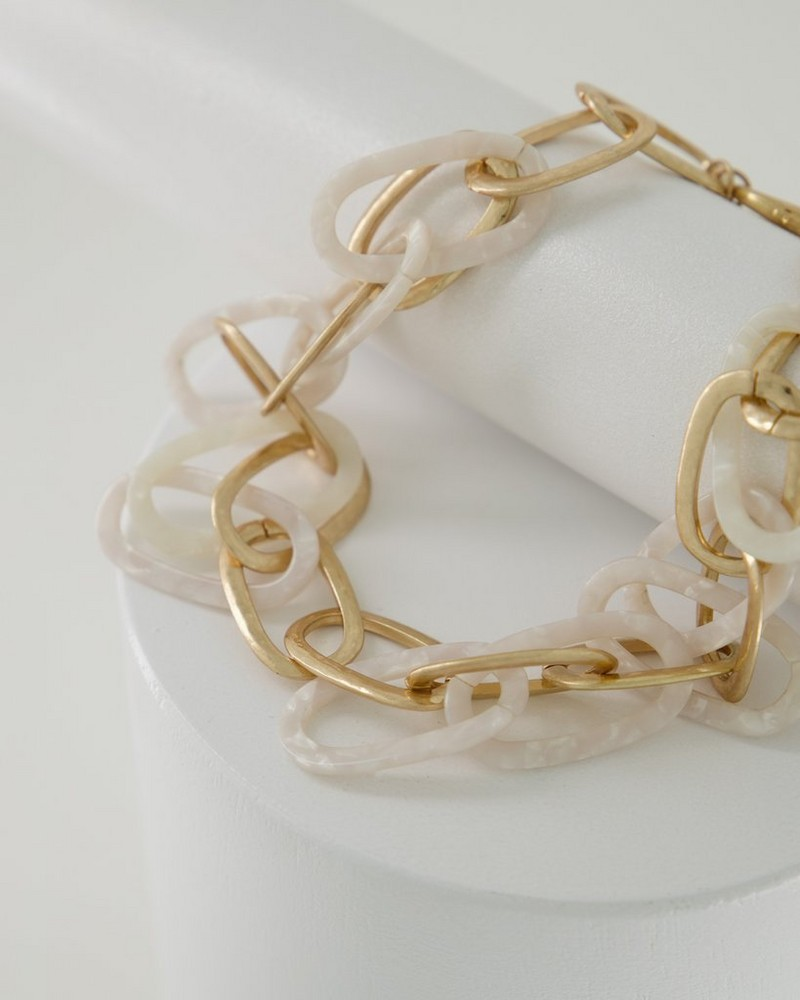Resin & Chain Link Bib Necklace -  milk-gold