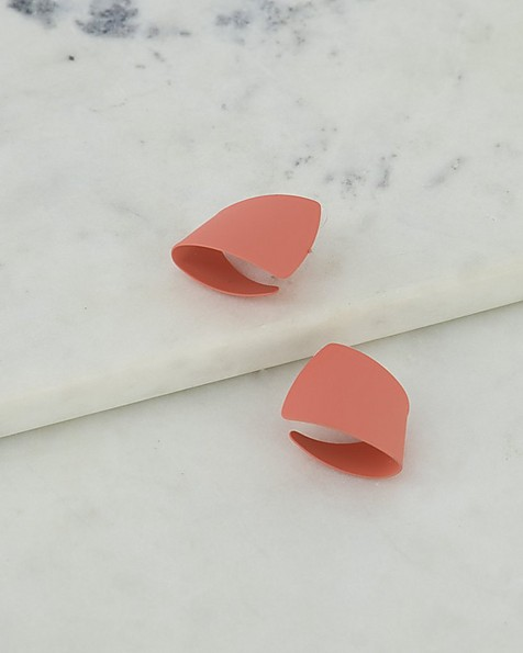 Twisted Epoxy Knot Stud Earrings -  coral-gold