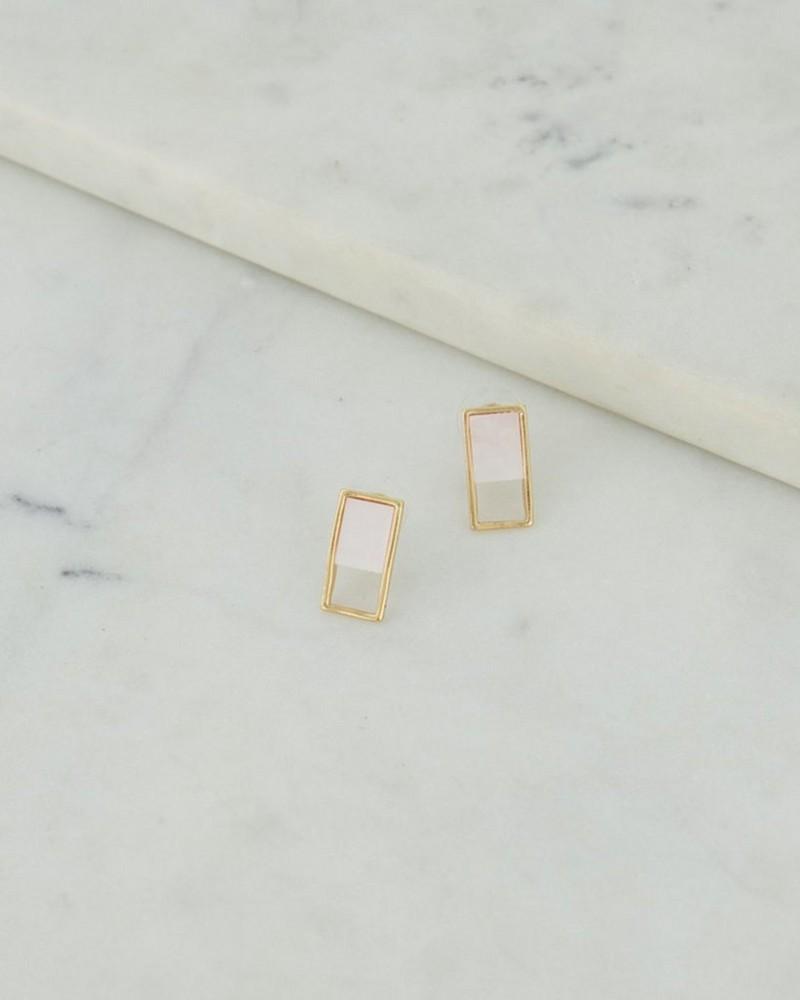 Rectangular Modern Stud Earrings -  milk