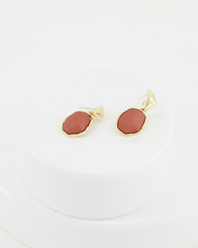 Small Domed Oval Drop Earrings -  orange-gold