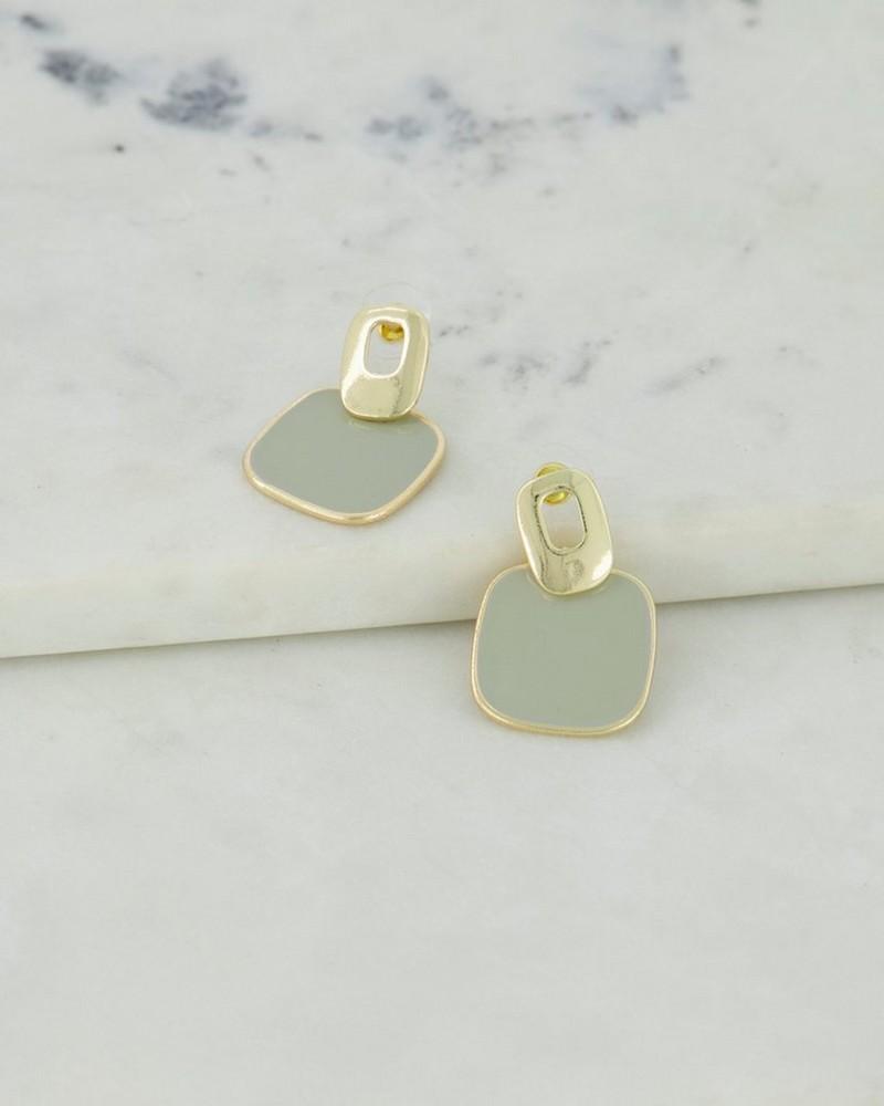 Flat Disk Epoxy Drop Earrings -  duck-egg-gold