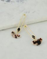 Art Deco Resin Drop Earrings -  black-brown